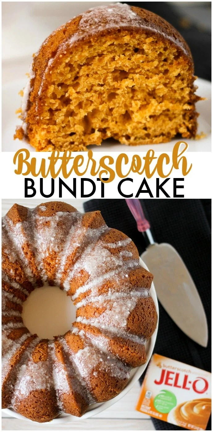 Butterscotch Bundt Cake is a moist and flavorful bundt cake made with the help of a cake mix and JELL-O pudding. Perfect for the holiday table! | www.persnicketyplates.com via @pplates