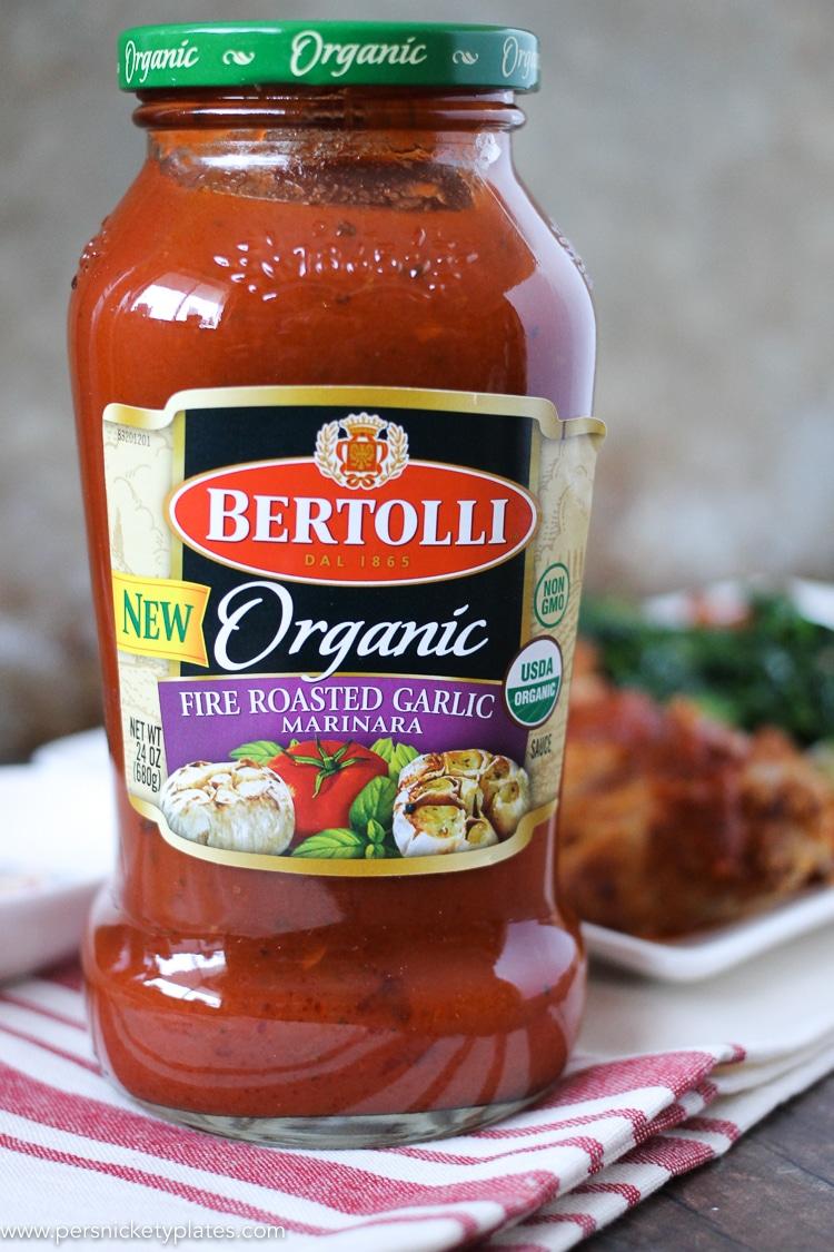 jar of Bertolli organic marinara sauce
