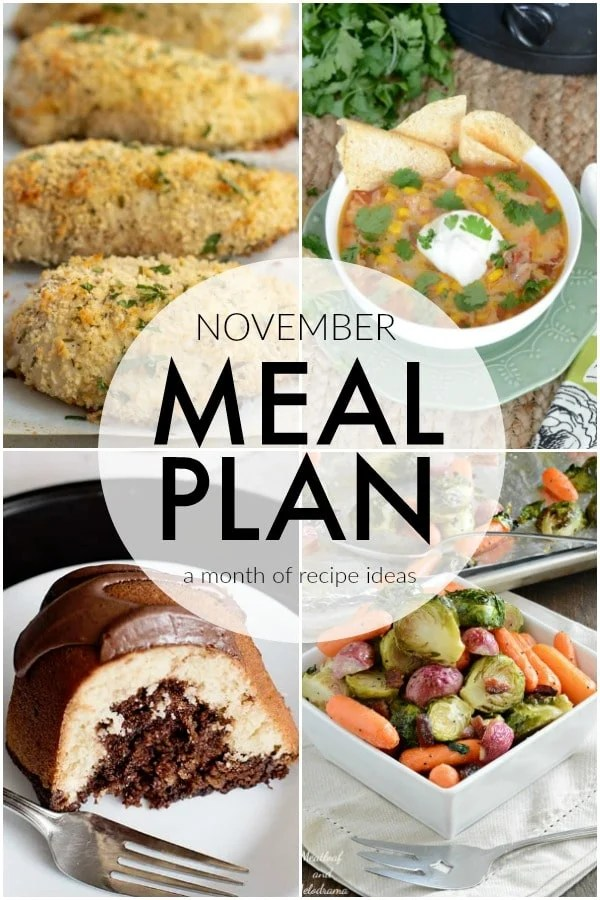 If you struggle to plan dinner ideas every night like me, we have some recipe ideas for you. This November Meal Plan will help make planning dinners quick and easy. | www.persnicketyplates.com via @pplates