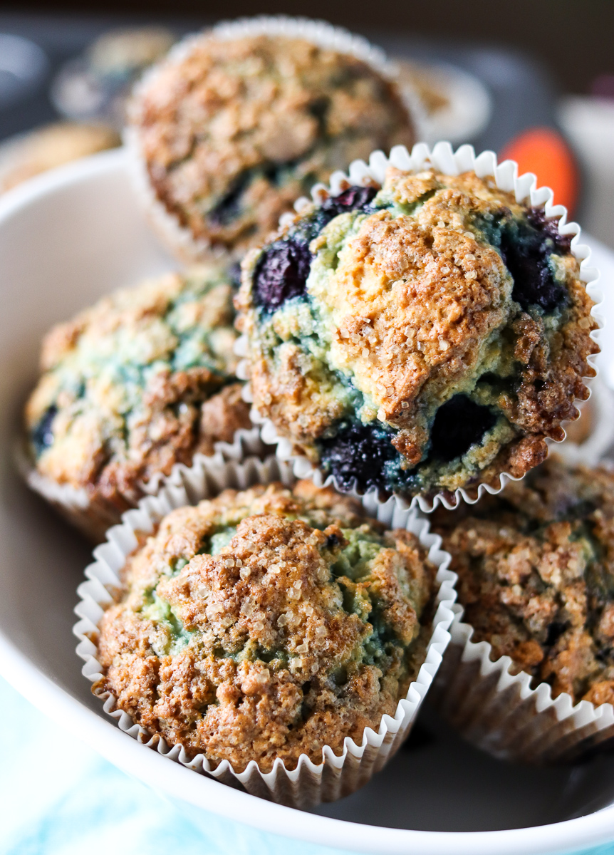 bowl full of blueberry muffins