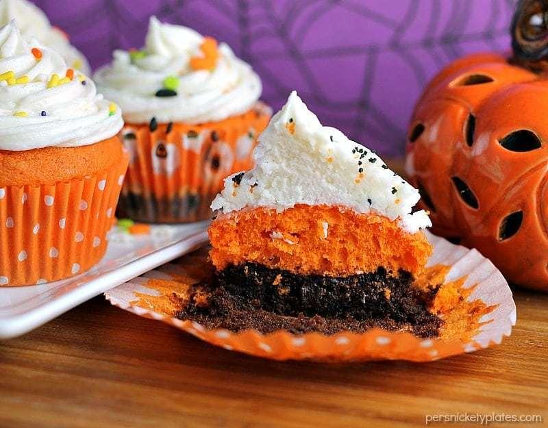 sliced brownie bottom orange halloween cupcake