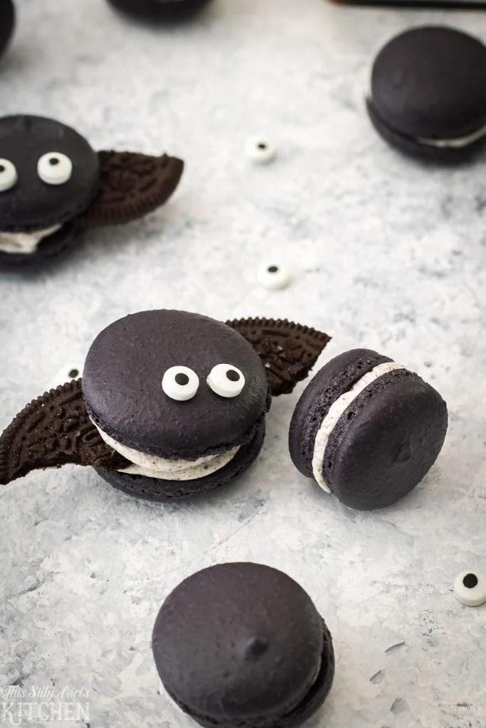 chocolate macarons shaped like bats