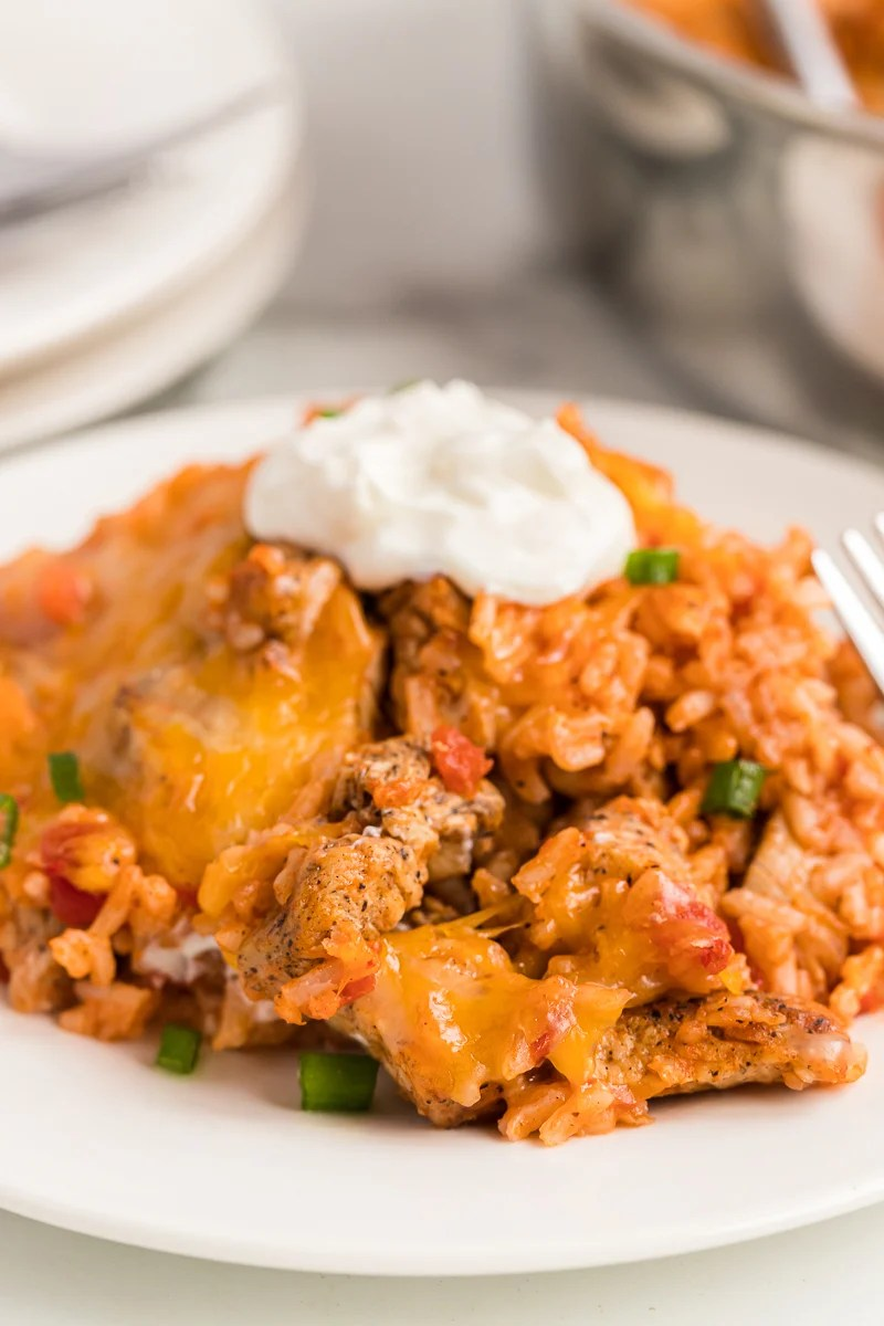 serving of cheesy chicken dish topped with sour cream
