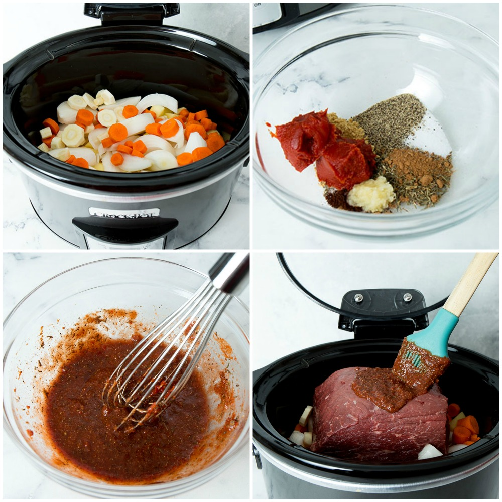 collage of slow cooker pot roast process shots