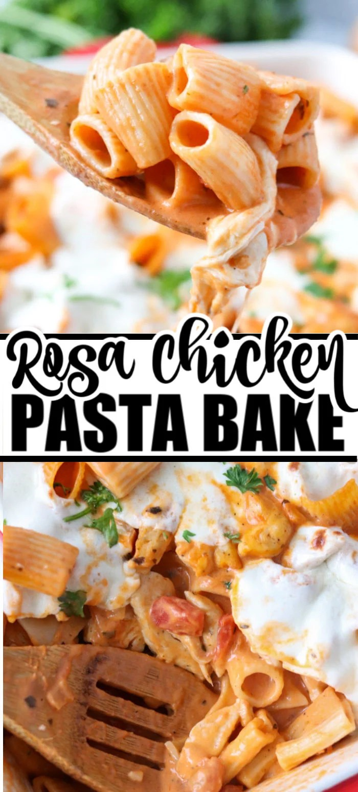 Stay in for Valentine's Day dinner with this Rosa Chicken Pasta Bake. A creamy rosa sauce made with marinara and alfredo, mixed with chicken, and topped with melted mozzarella cheese. | www.persnicketyplates.com #pasta #comfortfood #datenightfood #rosasauce #chickendinner