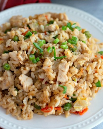 white plate of chicken fried rice