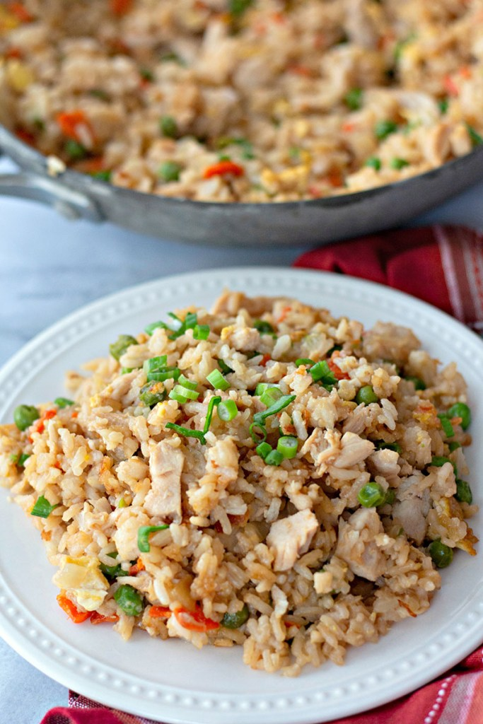 plated fried rice with skillet in background