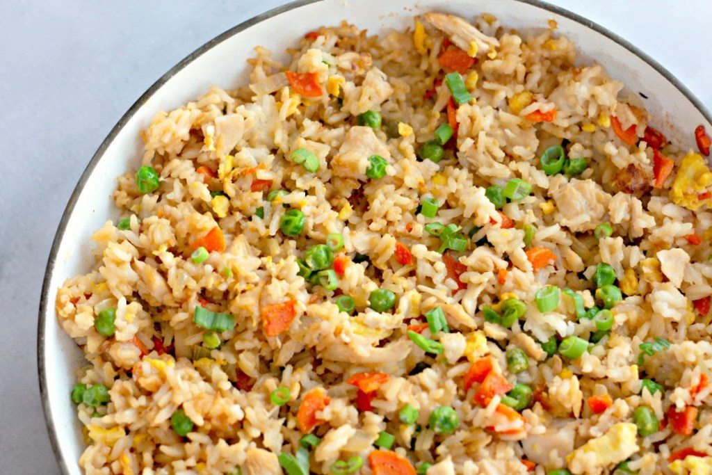 closeup of chicken fried rice in skillet
