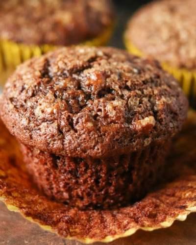 single chocolate banana muffin sitting in wrapper