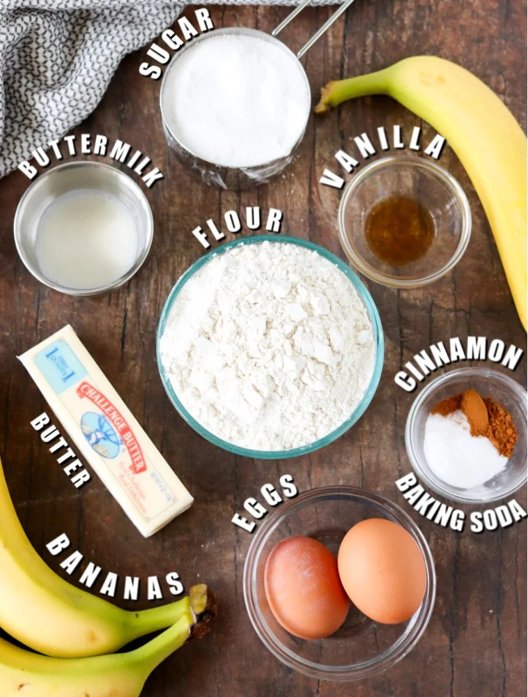 overhead shots of ingredients laid out to make banana bread
