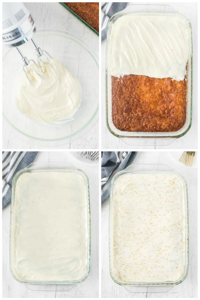 collage of cream cheese frosting going on a cake