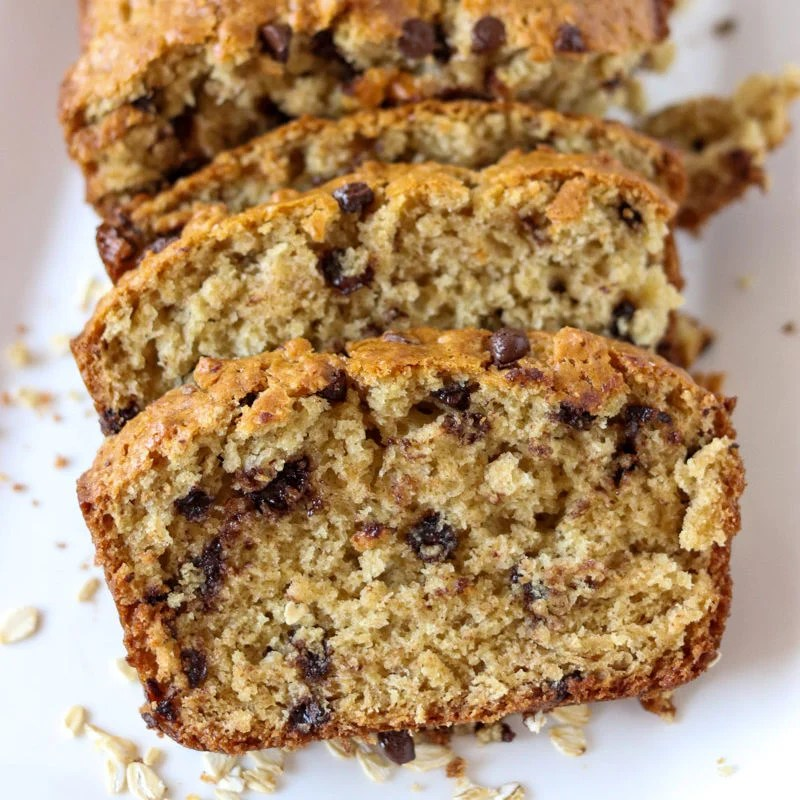 close up of sliced oatmeal chocolate chip quick bread