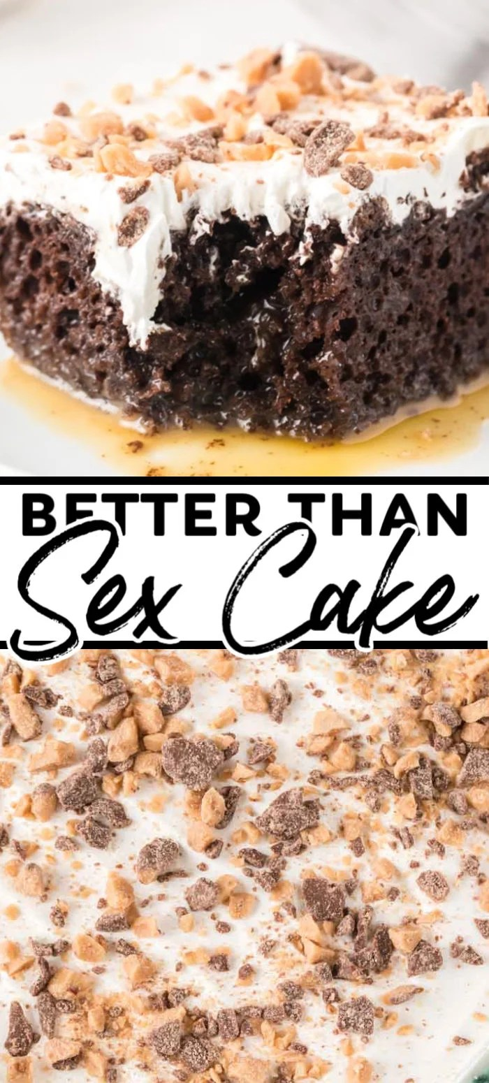 This Better Than Sex Cake is as good as it sounds. Moist chocolate cake filled with caramel sauce and topped with Cool Whip and Heath! If you are looking for the best and easiest chocolate cake recipe you'll ever try, you have come to the right place.   www.persnicketyplates.com