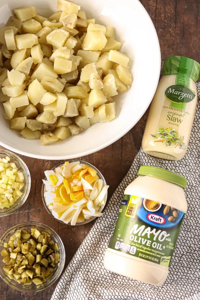 overhead shot of ingredients laid out to make potato salad