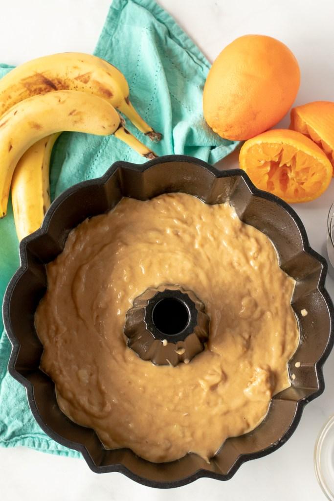 overhead shot of cake batter in a bundt pan