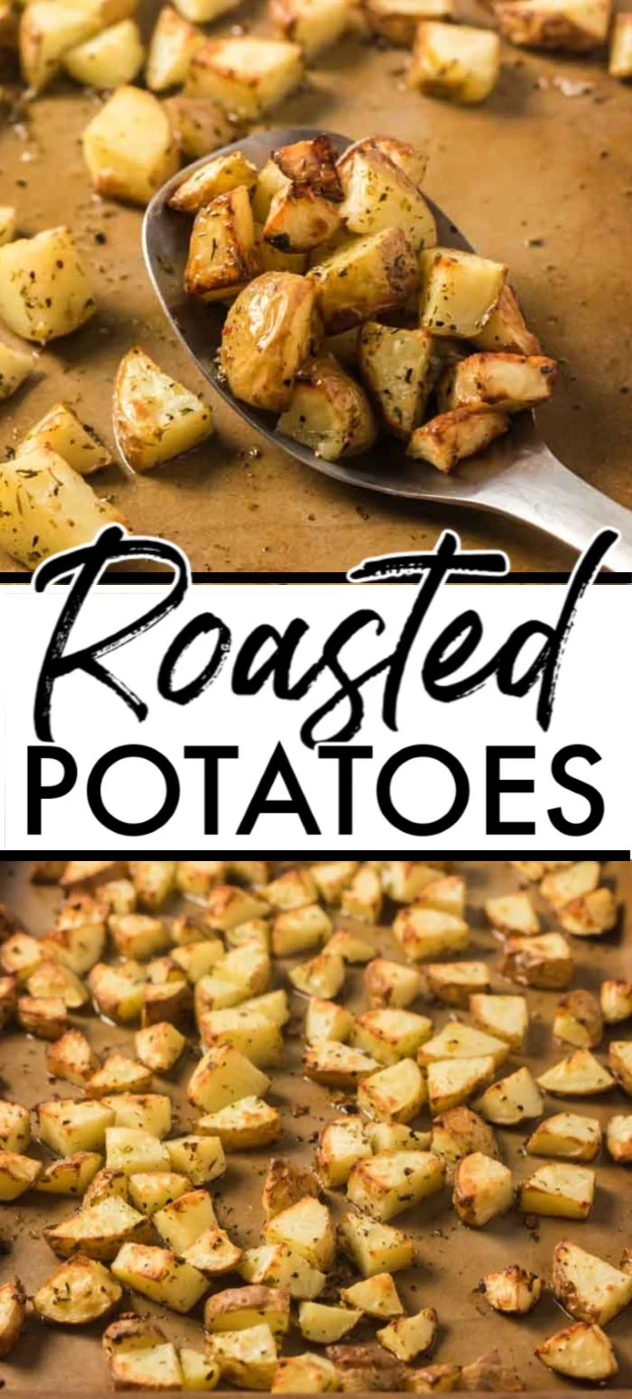 These Easy Oven Roasted potatoes are the perfect crispy on the outside tender on the inside bite you want in any roasted veggie. Made with a few ingredients, delicious herbs, and baked to a golden brown, this oven-roasted potato recipe will be ready in under an hour. | www.persnicketyplates.com