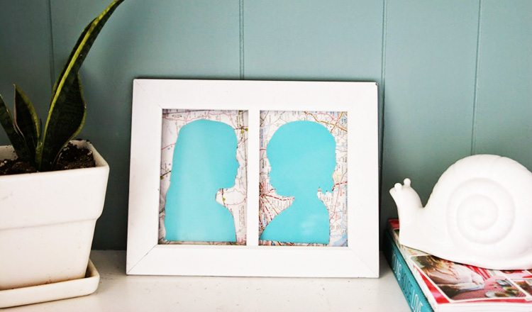 silhouette cutouts mounted to paper