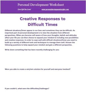 personal development worksheets - creative responses to difficult times