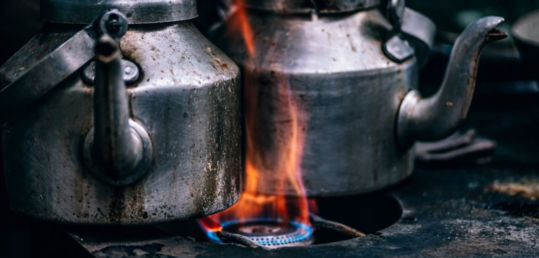 Kettles on stove