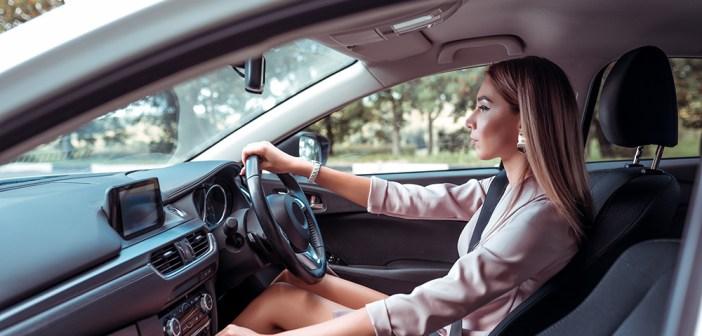 Women driving car