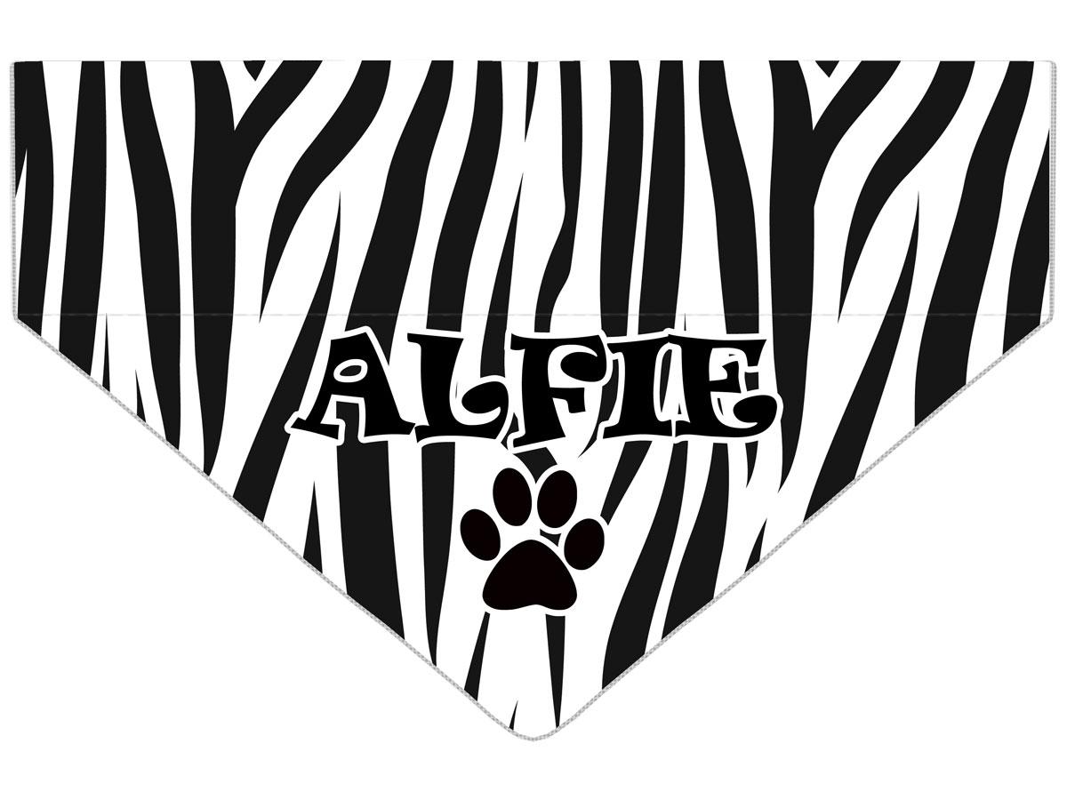 Personalised Zebra Print Dog Bandana