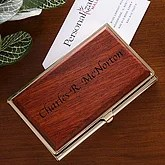 Personalized Rosewood Business Card Case - 1238