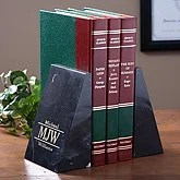 Engraved Marble Bookends - Executive Monogram Style - 2468