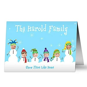 Personalized Photo Snowman Family Christmas Cards
