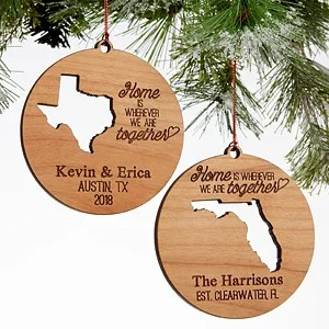 state of love personalized couples christmas ornaments