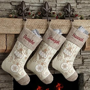 Personalized Elegant Charm Natural Christmas Stockings