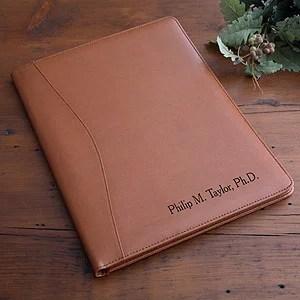 personalized executive leather portfolio tan