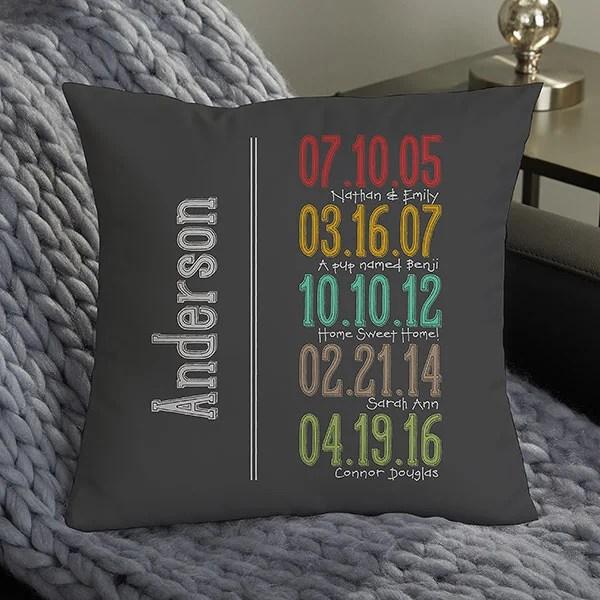 14 personalized throw pillow milestone dates