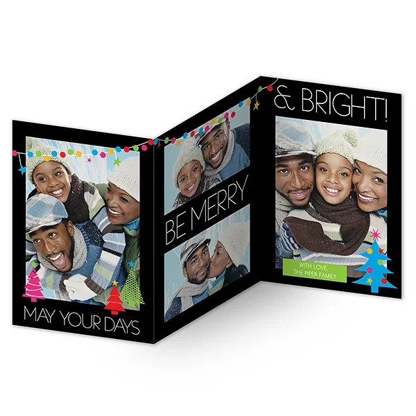 14728 Holiday Excitement Personalized 3 Panel Photo Cards