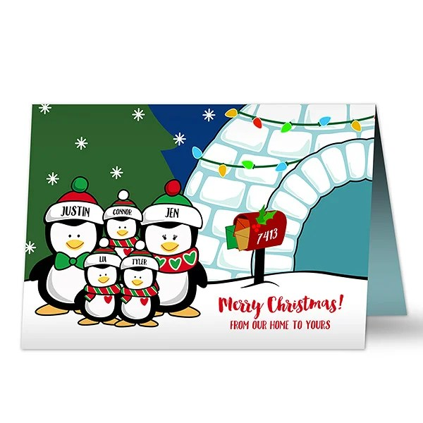 16090 Penguin Family Personalized Christmas Cards