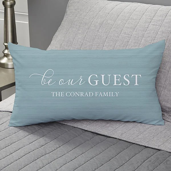be our guest personalized lumbar throw pillow