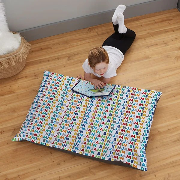 vibrant name for him personalized 30x40 kids floor pillow