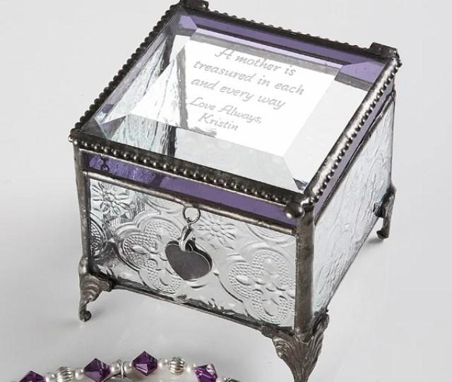 Personalized Vintage Glass Jewelry Box With Custom Poem