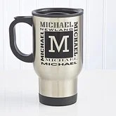 Personalized Travel Mug - Stainless Steel Mug Name Design - 6039