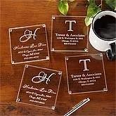 Personalized Business Address Glass Coasters - Set of 4 - 8798