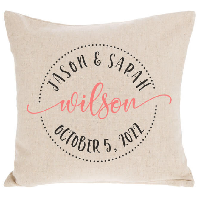 bride groom throw pillow with date circle