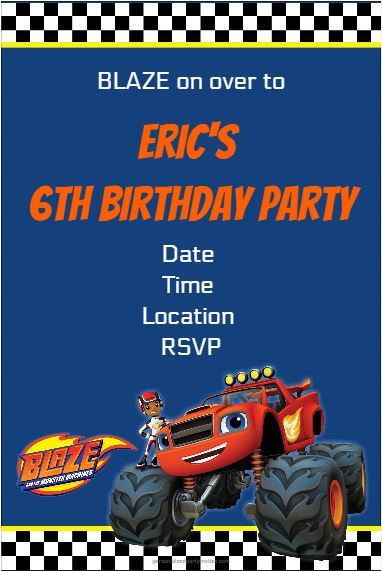 blaze and the monster machines printable party invitations