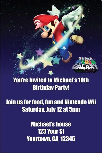 10 x personalised super mario bros birthday invitation invites with envelopes aa