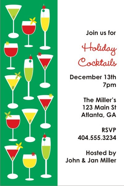 Cocktail Hour Holiday Christmas Party Invitation