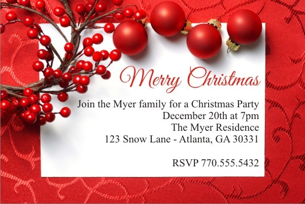 Christmas Berry Holiday Party Invitation Personalized
