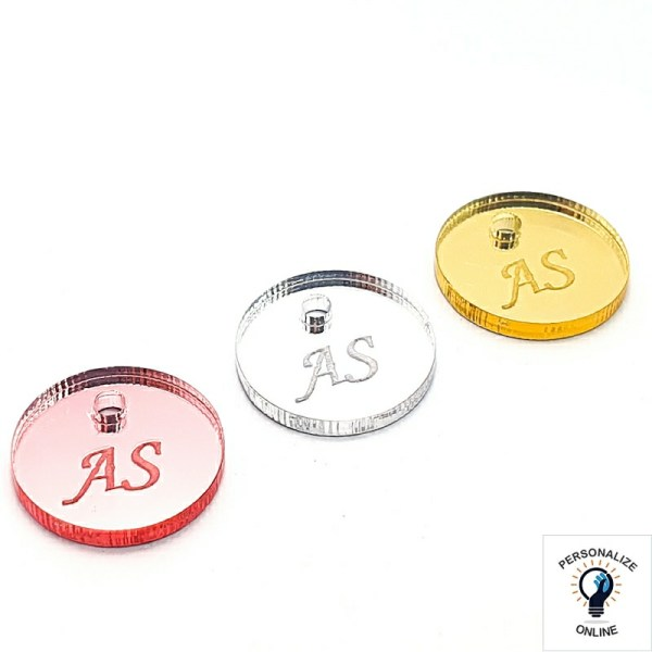 Etiqueta personalizada de acrílico redonda 1,5x1,5 cm