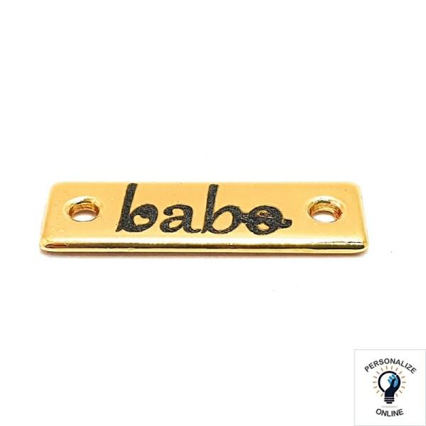 Etiqueta tag personalizada 2.4×0.8 cm de metal com furos laterais