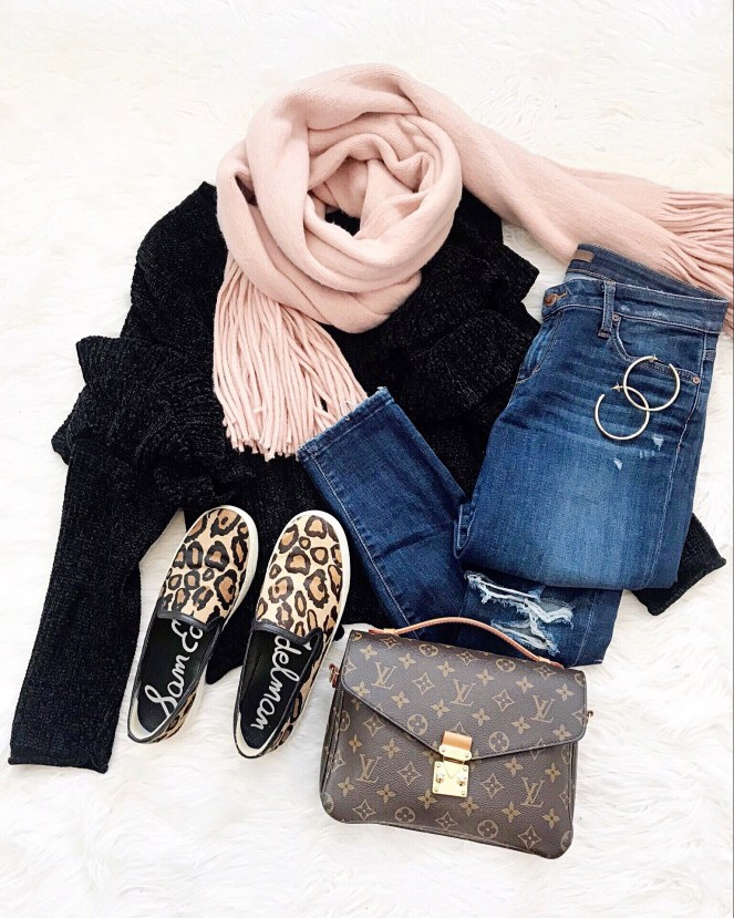 Louis Vuitton Pochette Metis, Free People scarf, Leopard Shoes, Joes Jeans, Flatlay