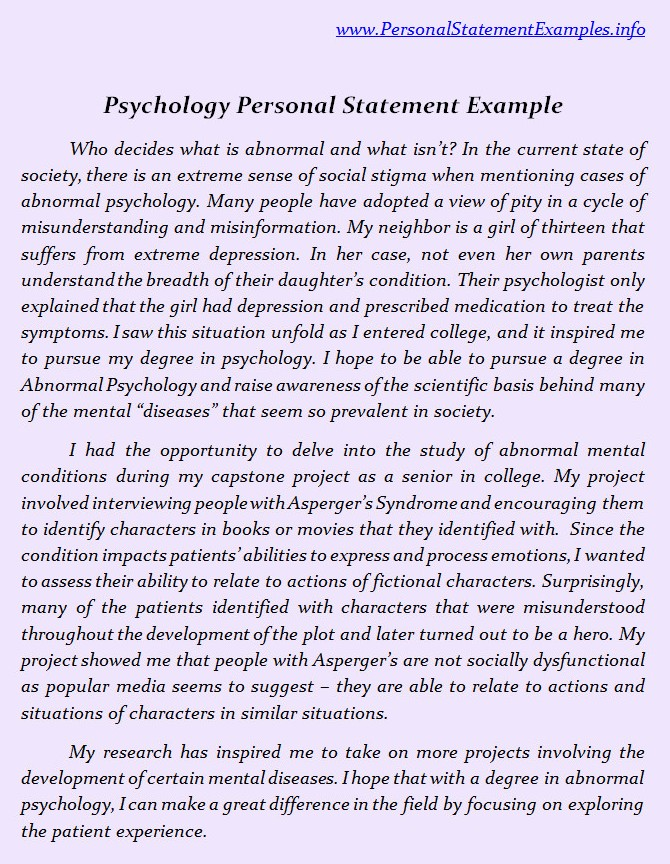 psychology personal statement examples personal statement sample