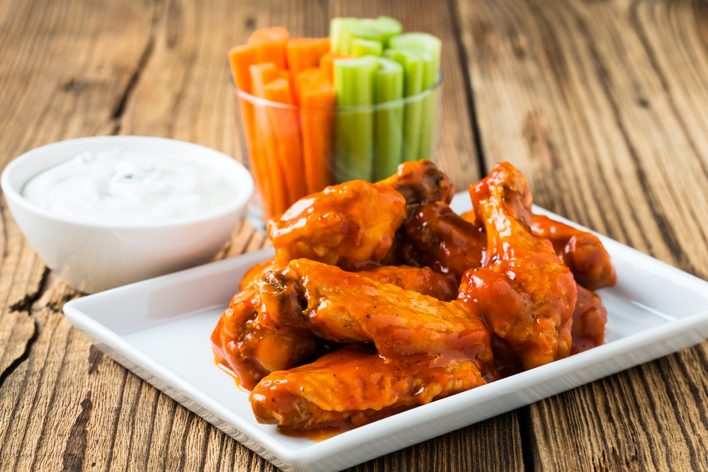 Personal Trainer Food burns fat with unlimited meats like fiery hot wings and cool ranch for your Super Bowl party.