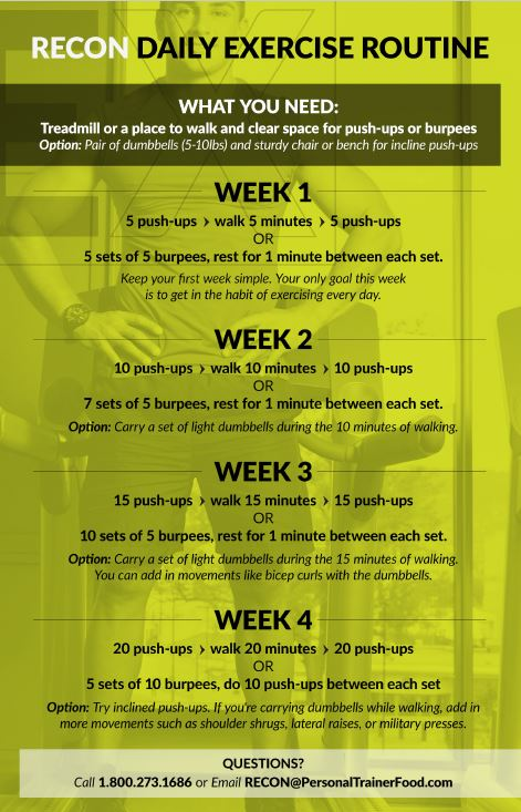 Personal Trainer Food's RECON daily exercise is easy to do, builds strength and lean muscle while you incinerate fat.